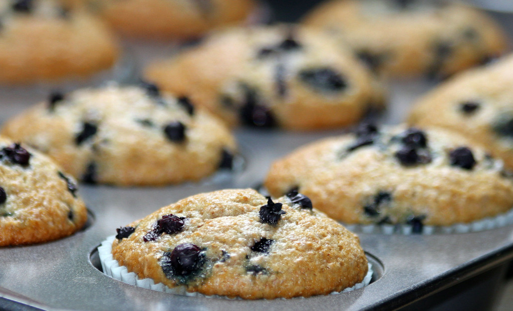 Greek Yogurt and Honey Blueberry Muffins